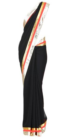Gold and silver gota striped, black georgette saree with a orange and gold border. It comes with a matching blouse piece by ABU JANI & SANDEEP KHOSLA. Shop at www.perniaspopupshop.com