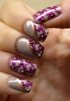 Purple Lace with Bead Accented Nails.