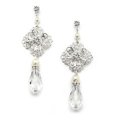 Mariell GatsbyStyle Vintage Crystal Wedding Earrings for Brides with Pearl Accents -- You can find more details by visiting the image link.