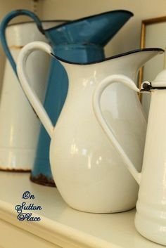 beautiful.quenalbertini: Vintage Enamelware Pitchers