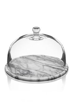 Godinger La Cucina 12-In. White Marble Plate With Glass Dome - Gray - One Size