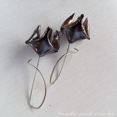 Copper and sterling silver earrings, foldforming | Handmade by Beads and Tricks
