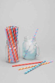 Party Stripe Paper Straw Set