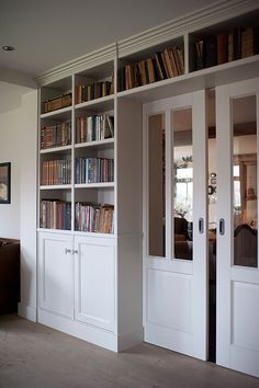 Home Library Rooms, Home Library Design, Home Office Design, House Design, Home Renovation, Home Remodeling, Living Room Built Ins, Bookshelves Built In, Billy Bookcase Hack