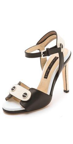 Chrissie Morris Black and Ivory Sandals
