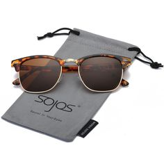 a9f0ce2583b us  SojoS Clubmaster Semi Rimless Polarized Sunglasses Clear Lens  Eyeglasses With Tortoise Frame Brown Le