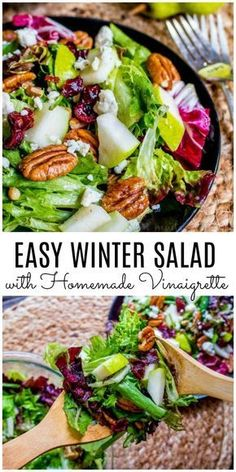 Winter Salad with Homemade Vinaigrette -You can find Salads for thanksgiving dinner and more on our website.Winter Salad with Homemade Vinaigrette - Winter Salad Recipes, Side Salad Recipes, Healthy Holiday Recipes, Fruit Salad Recipes, Healthy Meals, Salad Recipes For Parties, Dinner Healthy, Christmas Desserts, Delicious Recipes