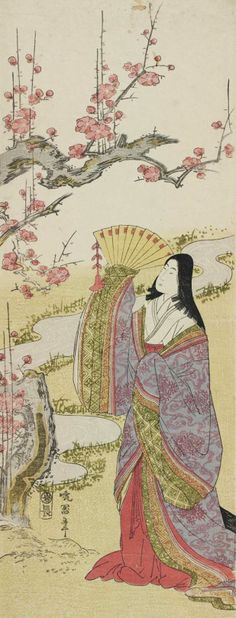 Court Lady and Plum Blossoms . Woodblock print, about 1810s, Japan, by Koikawa Harumasa