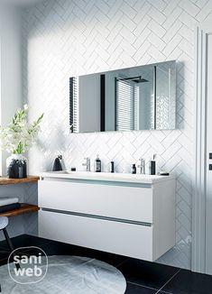Dit glanzend witte badkamermeubel is van Duitse topkwaliteit met 5 jaar garantie. De stevige aluminium soft-close lades zijn van hoge kwaliteit. Bovendien wordt het badmeubel volledig voorgemonteerd geleverd, super handig! #witbadmeubel #badkamer #visgraattegels #scandinavisch Bathroom Inspiration, Stylish Bathroom, Bathroom Inspo, Girl Bedroom Designs, Bathroom Interior Design, Interior, Kitchen Design, White Bathroom Cabinets, White Bathroom