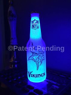 Wireless NFL Minnesota Vikings Football 12 .OZ Beer Lager Ale Pub Bar Pool Neon Man Cave Sign Bottle Steady or Flashing