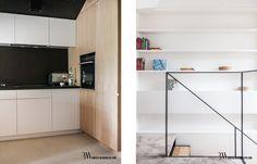 Wnętrze nowoczesnej kuchni z fornirowanymi meblami oraz sprzętami Siemens. www.bartekwlodarczyk.com