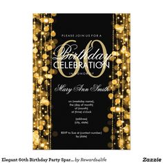 Elegant 60th Birthday Party Sparkles Gold 5x7 Paper Invitations.   Artwork designed by Rewards4life's Gifts