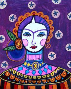 Mexican Folk Art Poster of Painting Purple by HeatherGallerArt, $24.00