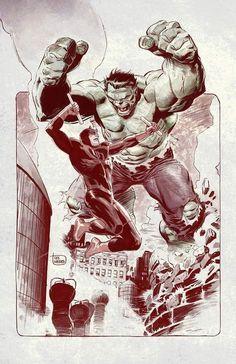 #Hulk #Fan #Art. (Daredevil vs The Hulk!) By: Lee Weeks. ÅWESOMENESS!!!™ ÅÅÅ+