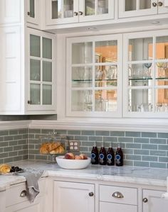 Blue Gray Subway Glass Tile Backsplash. The softer hue with a hint of gray is perfect for brightening any space and is the ideal tile for a kitchen backsplash or bathroom tile.