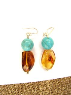 Turquoise and amber earrings made in Chiapas, Mexico
