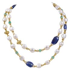 Gold, Colored Stone and Pearl Necklace | From a unique collection of vintage chain necklaces at http://www.1stdibs.com/jewelry/necklaces/chain-necklaces/