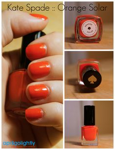 Kate Spade Orange Solar #aprilgolightly #manicuremonday Manicure, Nails, Circle Scarf, Solar, Kate Spade, Nail Polish, Orange, Products, Nail Bar