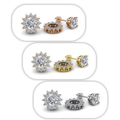 "Decorate your own favourite pair of #Solitaire #Stud #Earrings by simply slipping them through the #Jackets.  - SUMMER SALE - 75% OFF Retail  - Take Additional 10% off Coupon Code : ""TriJewels10""  #diamonds #jacketearrings #love #gift #finejewelry #trijewels Jacket Earrings, Stud Earrings, Studded Jacket, Ear Studs, Halo Diamond, Summer Sale, Coupon Codes, Fine Jewelry, Diamonds"