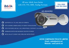 All new #Advik Aura Series with CVI, TVI, AHD, Analog Formats !!!! For the first time ever, get a #camera that supports all CVI, TVI, AHD, #Analog Formats. With the benefits of many in one, the aura series gives you complete freedom of choice for any format to choose from and get Sharp images with true colours. For More Details click here...http://advik.net/products/security-camera/HDCVI-Camera/AD-B2HDR2.html