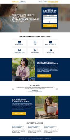 distance education online degree lead magnet landing page design