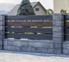Modular fence system ROMA Classic - Concrete fences - producer of fences, posts, blocks and hollow bricks - JONIEC House Fence Design, Front Wall Design, Gate Designs Modern, Modern Fence Design, Concrete Fence Wall, Brick Fence, Boundry Wall, Compound Wall Design, Privacy Fence Designs