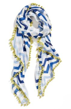 Shaded scarf in graphic chevron stripes.
