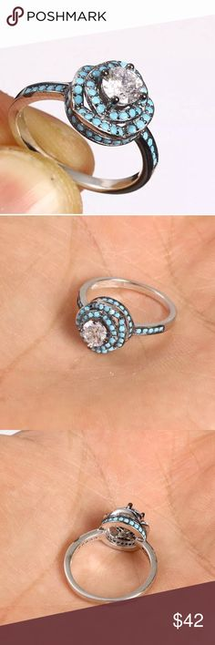 """💠TURQUOISE DOTS➕WHITE TOPAZ RING•925 STERLING💠 💠BLUE DOTS HANDMADE TOPAZ TURQUOISE .925 STERLING SILVER RING SIZE 6 •  Material is .925 Sterling Silver. The stones are TOPAZ, TURQUOISE. This Ring is 3 grams. Head size is 0.40"""". Ring Size is 6 Has the 925 stamp. Made in EUROPE with high quality workmanship!💠      Made in Istanbul, Turkey Jewelry Rings"""