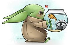 """🌤 Allison 🌤 on Instagram: """"Another little happy doodle. I don't think the fish would last long in his care... but he loves him anyway! 🐠I need to start working on…"""" Cute Disney Characters, Happy Doodles, Reylo, Rogues, Love Him, Star Wars, Fan Art, Fish, Mandalorian"""