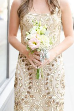 Gold Vintage Bridesmaids Dress | See More Ideas: http://thebridaldetective.com/the-ultimate-guide-to-metallics/
