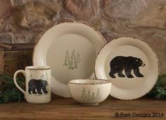 Amazon.com | Rustic Retreat Ceramic Dinner Plate Stoneware Cream Pine Trees Country Rustic Cabin Lodge Dinnerware - Set of 4: Dinner Plates