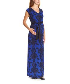 Love this Royal & Black Damask Maternity Maxi Dress by Anticipation on #zulily! #zulilyfinds