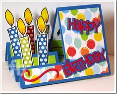 Created by Frances Byrne using Sizzix Basic Step-Ups Card; TSOL Candle Club Die Set & Candles4birthday