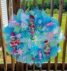 Elf Christmas WreathFront Door Holiday WreathBlue White