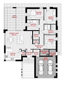 Rzut CPT Koncept 26 CE House Layout Plans, Dream House Plans, Modern House Plans, House Layouts, Building Plans, Building A House, Circle House, L Shaped House, Bungalow House Design