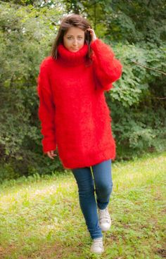 New Unique Hand Knitted Mohair Sweater Thick Red Fuzzy Uni Size Jumper 1 4kg | eBay