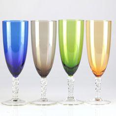 4 Vintage bunte Sektgläser Farbglas Gläser bunt blau grün orange braun Glas W1D   eBay