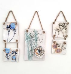 floral ceramic wall hangings by Charlotte Hupfield