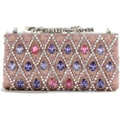 Jimmy Choo Celeste Crystal-Embellished Clutch ($2,730) ❤ liked on Polyvore featuring bags, handbags, clutches, jimmy choo, multicoloured, tri color handbags, colorful purses, colorful clutches, multi colored handbags and metallic handbags