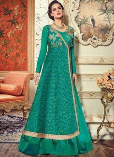 Sea Green Embroidery Work Silk Designer Long Fancy Wedding Anarkali Suit http://www.angelnx.com/Salwar-Kameez/Anarkali-Suits