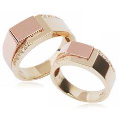 디어 커플링 Jewelry Rings, Gold Jewellery, Designer Jewellery, Jewellery Designs, Gents Bracelet, Diamond Rings, Gold Rings, Couple Bands, Wedding Jewelry