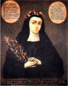 Portrait of Sister Mary of Saint-Joseph. Crowned nun of Santa Mónica Convent, Puebla, Mexico. S. XVIII.