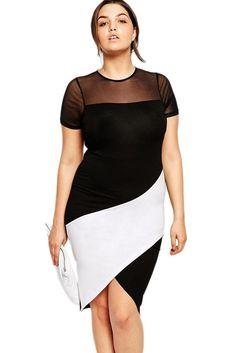 Plus Sized Curve Body conscious Asymmmetric Color Block Dress