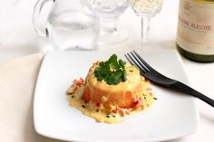 Red Pepper and Feta Flan with Saffron Sauce