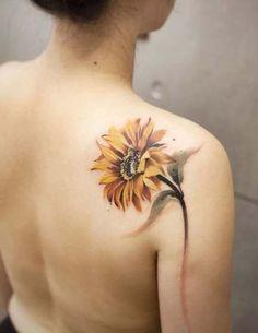 Sunflower Tattoo Shoulder, Sunflower Tattoo Small, Sunflower Tattoos, Sunflower Tattoo Design, Watercolor Sunflower Tattoo, Flower Tattoos On Shoulder, Sunflower Mandala Tattoo, Tattoo Watercolor, Sunflower Flower