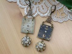 Upcycled Earrings ~ Vintage Watch Face ~ Rhinestones Crystals ...