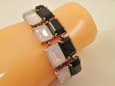 J. Crew Crystal Bar Bracelet Black Iridescent Prism 1980's Retired Designer Jewelry Vintage Costume Link Pronged Stones Ebony Stones