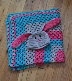 Snuggle Bunny Hat & Granny Square Blanket Gift by CherMeCreations, $60.00