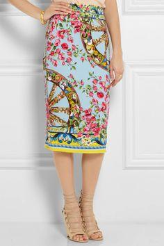 Dolce & Gabbana                               Printed stretch-silk crepe pencil skirt