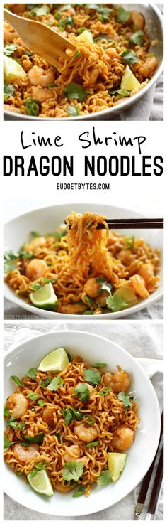 Lime Shrimp Dragon Noodles are a fast, easy, and inexpensive alternative to take out. This version features tender shrimp and fresh lime. @budgetbytes